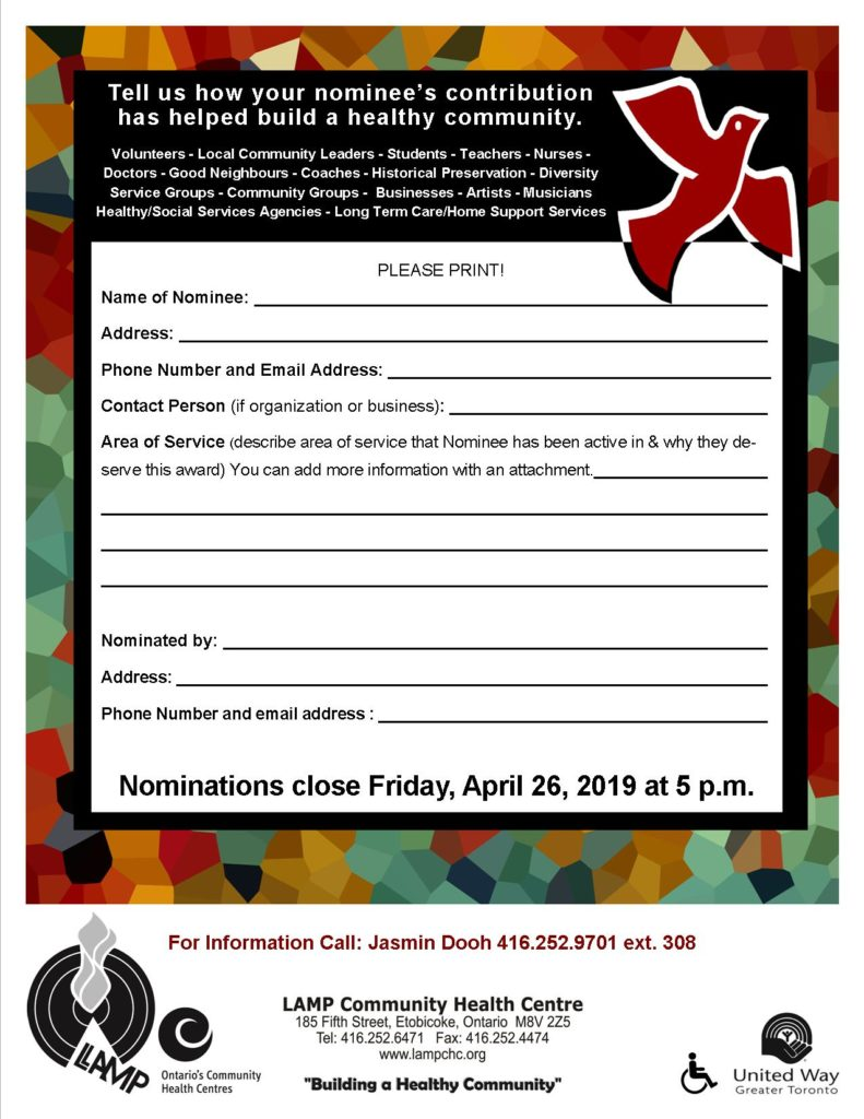 Form Name of Nominee, contact info, your contact info and details of why this person, organization, business should be an award winner. The more details best. Deadline Friday April 26 at 5 pm LAMP.