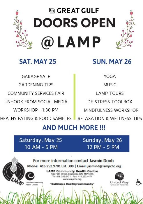 Sat. May 25 Garage sale, gardening tips. community services fair, unhool from socila media workshop, healthy eating and food samples, baccata, and much more. 10 am to 5 pm. Sundy relaxing wellness day music, LAMP tours de stress tool box, mindfulness workshop, relaxation and wellness tips at LAMP 185 Fifth Street