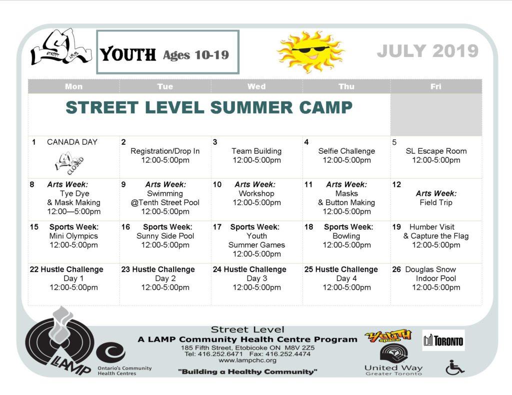 Street Level summer camp calendarJuly  8th arts week, July 15 sports week, July 22 Hustle challenge