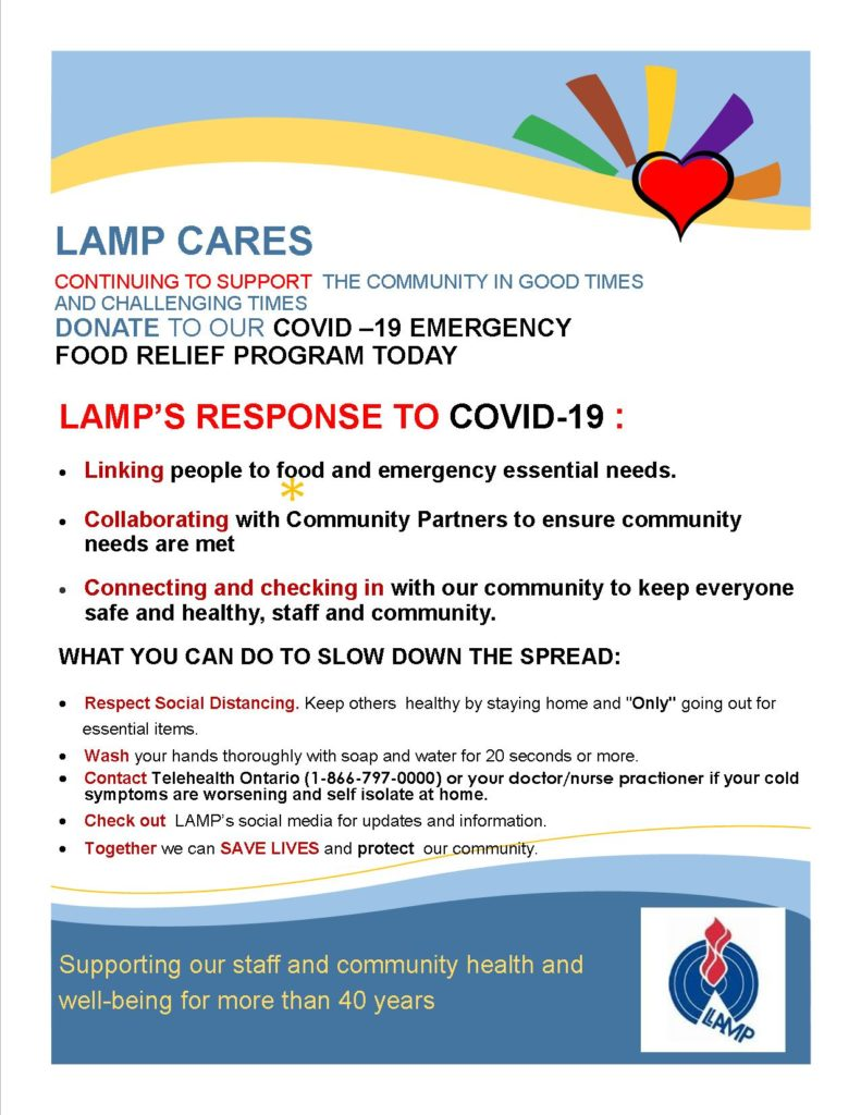 LAMP's response to COVID-19 Linking people to food and emergency essential needs Collaborating with community partners to ensure community needs are met Connecting and checking in with our community to keep everyone safe and healthy, staff and community.